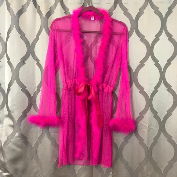 Hot Pink Sheer Barbie Lingerie Robe NWOT sexy Hot.  M 5a6d201061ca106fb490c7ca bd391359e